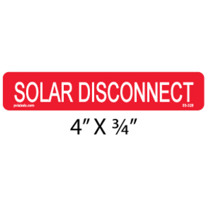PV Label - SOLAR DISCONNECT  - 10 Pack