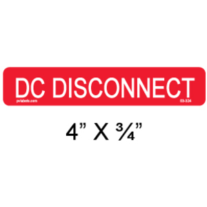 PV Label - PHOTOVOLTAIC DC DISCONNECT  - 10 Pack