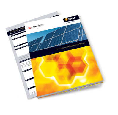 SEAWARD SOLAR, 396A956, PV SYSTEM VERIFICATION CERTIFICATE PAD, A4 SIZE, (25 COPIES)