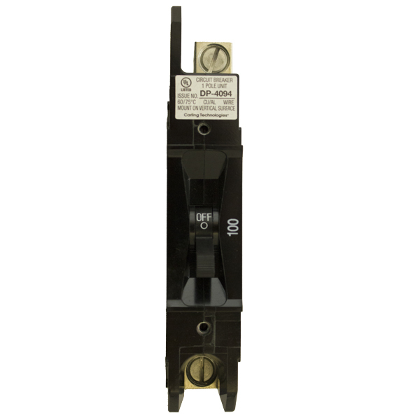CIRCUIT BREAKER, 100A, 125VDC, 1POLE, E-FRAME PNL MOUNT, 1/0 LUG TERM, 1 IN WIDE, RNW8651080