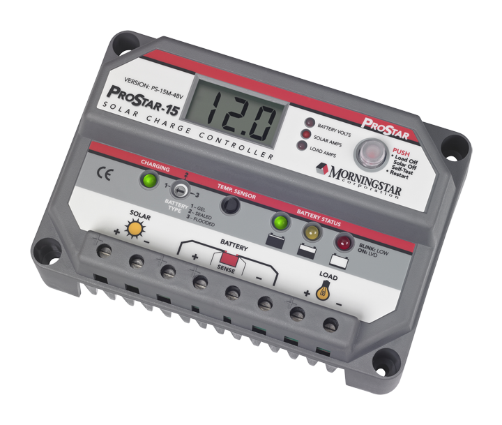 MORNINGSTAR, PS-15M-48, PWM CONTROL, PROSTAR CHARGE/LOAD CONTROL WITH METER 15A 48V