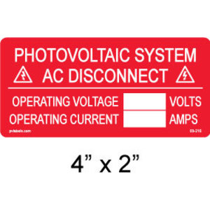 PV Label - PHOTOVOLTAIC AC SYSTEM DISCONNECT WITH BLANKS - 10 Pack