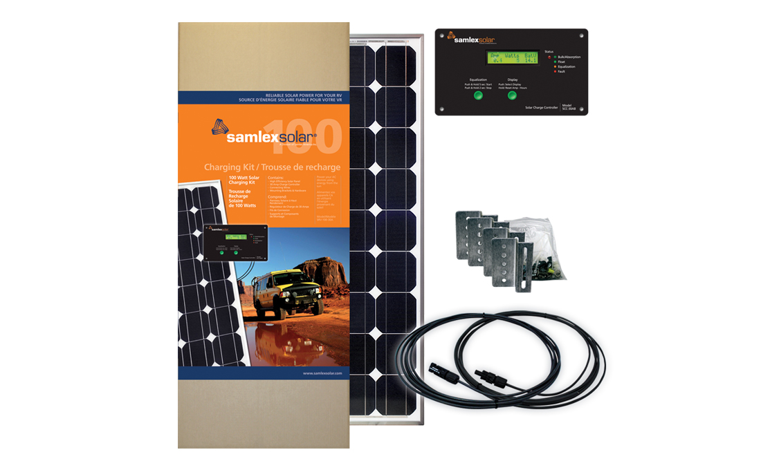 SAMLEX, SRV-100-30A, SOLAR CHARGING KIT, 100W SAMLEX PV, 30A CHARGE CONTROL, 12 VDC, NO BATTERY