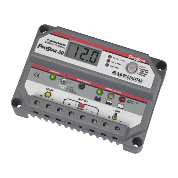 MORNINGSTAR, PS-30M-PG, PWM CONTROL, PROSTAR CHARGE/LOAD CONTROL WITH METER POS GND 30A 12-24V