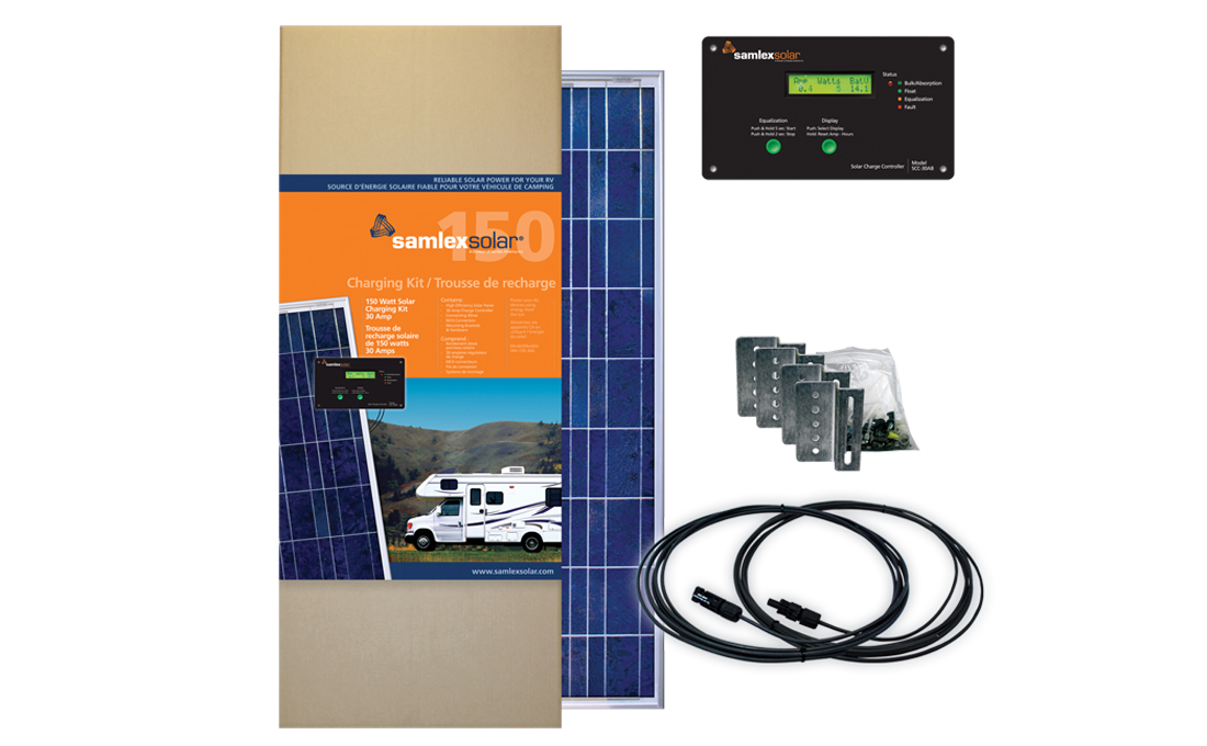 SAMLEX, SRV-150-30A, SOLAR CHARGING KIT, 150W SAMLEX PV, 30A CHARGE CONTROL, 12 VDC, NO BATTERY