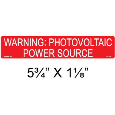 PV Label - WARNING: PHOTOVOLTAIC POWER SOURCE - 10 Pack