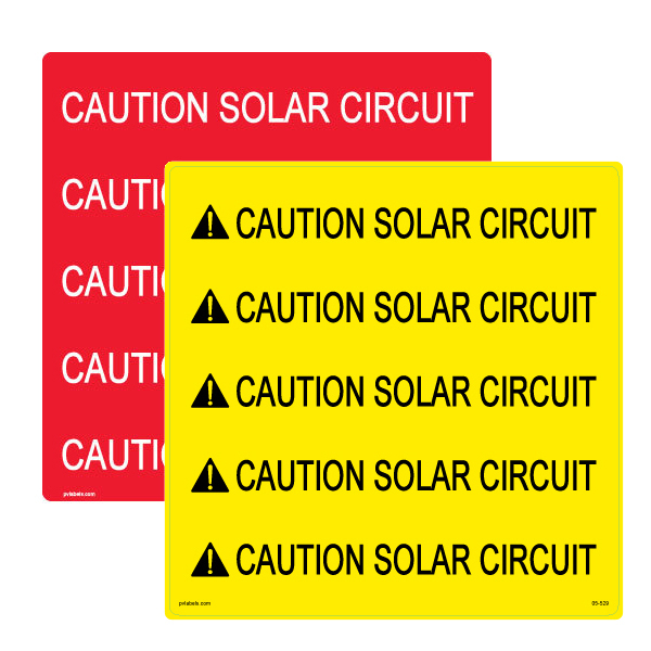 PV Label - CAUTION SOLAR CIRCUIT - Conduit Wrap - 10 Pack