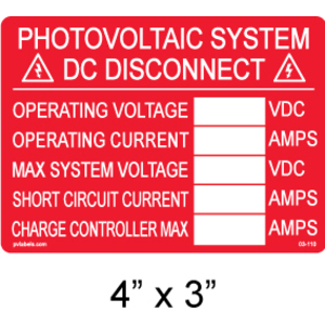 PV Label - PHOTOVOLTAIC DC DISCONNECT INFO LABEL WITH BLANKS  - 10 Pack