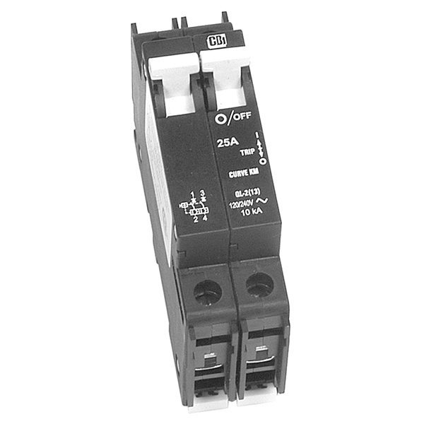 CIRCUIT BREAKER, 20A 120/240VAC MAX, 2-POLE, OUTBACK DIN-20D-AC