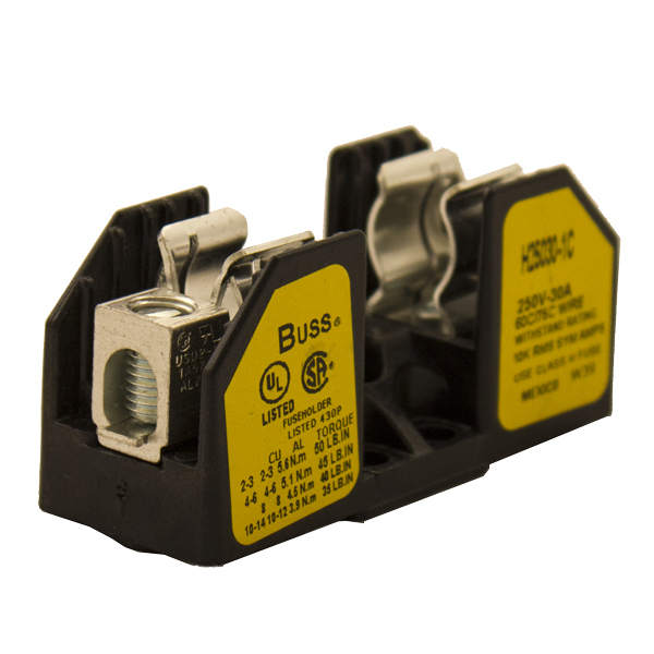 FUSE BLOCK, FOR CLASS H/R FUSES, 10-30A, 1-POLE
