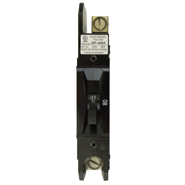 CIRCUIT BREAKER, E-FRAME, 80A 125VDC, 1POLE, PNL MOUNT, 1/0 LUG TERM, 1 IN WIDE, RNW8651070