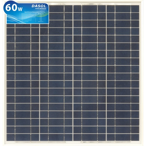 DASOL, DS-A18-60, PV MODULES, 60W, POLY/WHITE/CLEAR, J-BOX, CHINA